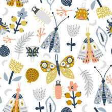 Seamless Pattern With Flowers, Moth, Butterfly, Leaves. Creative Floral Texture. Great For Fabric, Textile Vector Illustration