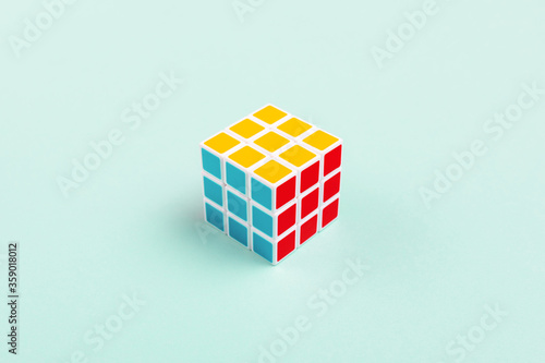 NOVI SAD, SERBIA - JUNE 10, 2018: Rubik's Cube, originally called Magic cube, invented by a Hungarian sculptor and professor of architecture Erno Rubik in 1974. Illustrative editorial.