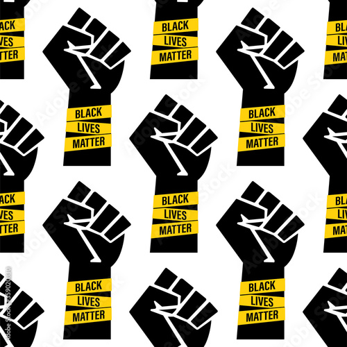 Valokuvatapetti Seamless pattern - Black Lives Matter movement, clenched fist and text isolated