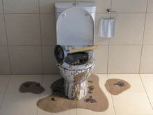 Clogged Overflowing Toilet Bow...