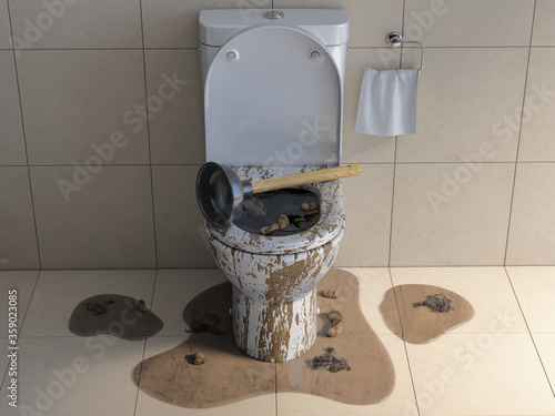 Clogged overflowing toilet bowl with rubber plumber. Canvas-taulu