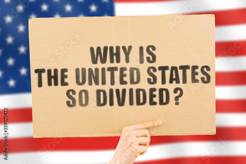 Cuadros en Lienzo The phrase  Why is the United States so divided?  on a banner in men's hand with blurred American flag on the background