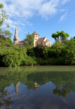 Saint-Denys-Sainte-Foy Church And Grand Morin River In Coulommiers Village