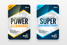 Disinfectant Cleaner Washer Labels Template Design Set