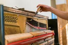 Piano Tuning Process. Closeup ...