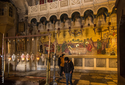 JERUSALEM, ISRAEL - January 29, 2020: Church of the Holy Sepulchre, The Stone of Canvas Print