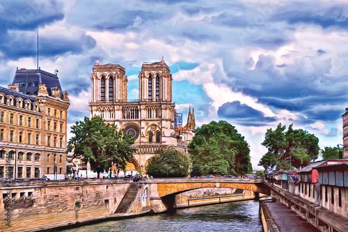 Obraz na płótnie Oil painting of Notre Dame Cathedral. Paris. France.