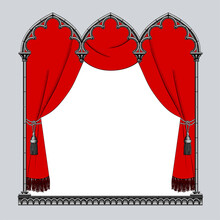 Engraved Vintage Drawing Of A Black Classic Gothic Frame With A Red Curtain