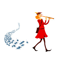 Pied Piper Of Hamelin Vectoral Illustration. White Background Isolated. Children Books, Maagazines, Web Pages, Blogs.
