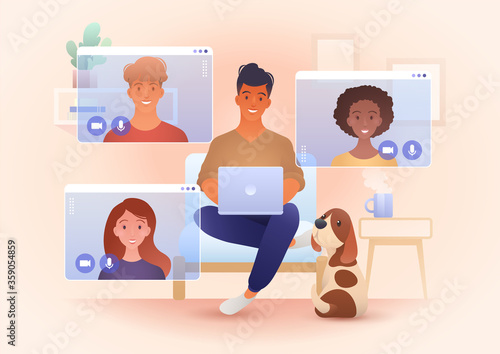 A group for young smile people video call in their own living rooms Wallpaper Mural