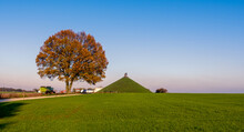 Famous Lion's Mound (Butte Du Lion) Monument In Waterloo, Surrounded By Farmland. This Monument Commemorates The Battle Of Waterloo Fought In 1815.