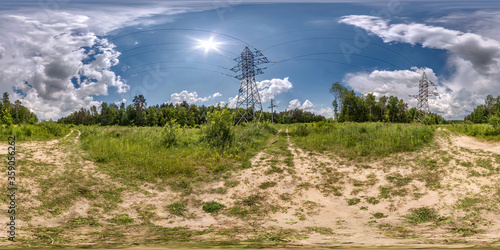 Canvas Print full seamless spherical hdri panorama 360 degrees angle view near high voltage e