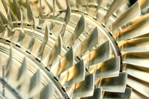 Wheel of the air compressor of an aircraft engine. Wallpaper Mural