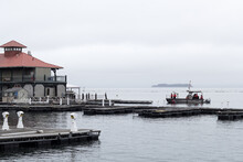 Dock On Lake Champlain In The City Of Burlington, Vermont, With Coast Guard.