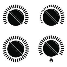 Black Cooking Stove Heat Knob ...