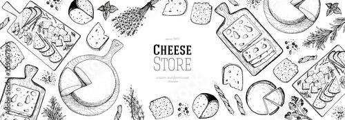 Fotografía Cheese hand drawn illustration, top view frame