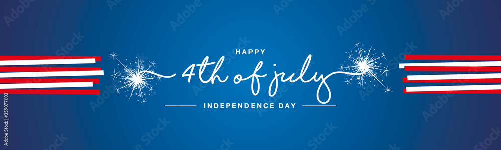 Fototapeta Happy 4th of july USA Independence day handwritten typography sparkle firework red white ribbon blue banner