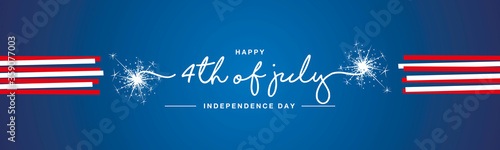 Happy 4th of july USA Independence day handwritten typography sparkle firework red white ribbon blue banner - 359077003