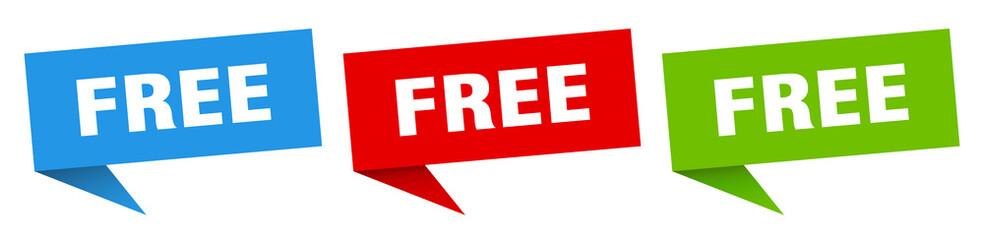 free banner. free speech bubble label set. free sign