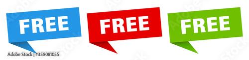 Fototapeta free banner. free speech bubble label set. free sign obraz