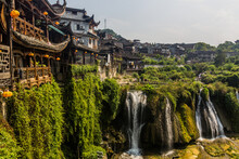 Waterfall In Furong Zhen Town,...
