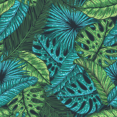 Panel Szklany Podświetlane Natura Tropical palm leaves seamless pattern. Vector illustration leaves of palm. Jungle pattern. Print on cloth template. Beautiful design for textiles.