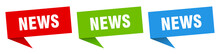 News Banner. News Speech Bubble Label Set. News Sign