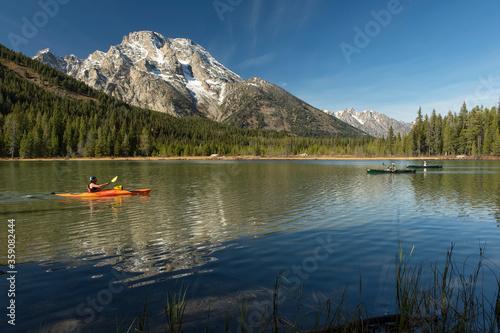 Kayaker & canoeists on Leigh Lake;  Grand Teton NP;  Wyoming Canvas Print