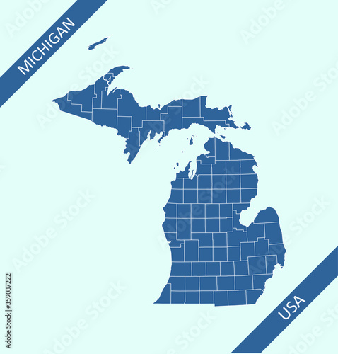 Papel de parede County map of Michigan USA