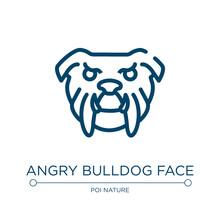 Angry Bulldog Face Icon. Linea...