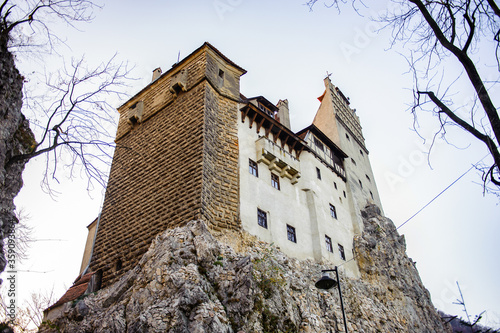 It's Dracula's Castle on the top of the rock (Bran Castle), a famous castle of the Count Vlad Tepes, Bran, Romania Canvas Print