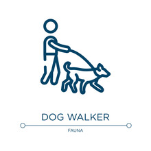 Dog Walker Icon. Linear Vector Illustration From Dog And Training Collection. Outline Dog Walker Icon Vector. Thin Line Symbol For Use On Web And Mobile Apps, Logo, Print Media.
