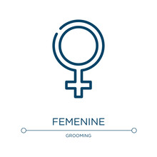 Femenine Icon. Linear Vector Illustration From Beauty Collection. Outline Femenine Icon Vector. Thin Line Symbol For Use On Web And Mobile Apps, Logo, Print Media.