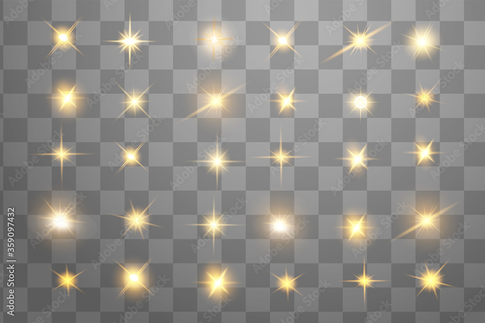 Fototapeta Glow isolated yellow light effect set, lens flare, explosion, glitter, line, sun flash and stars. Abstract special effect element design. Shine ray with lightning. Set of gold bright beautiful stars
