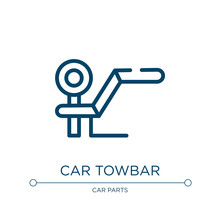 Car Towbar Icon. Linear Vector Illustration From Car Parts Collection. Outline Car Towbar Icon Vector. Thin Line Symbol For Use On Web And Mobile Apps, Logo, Print Media.