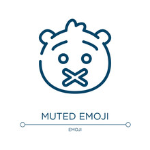 Muted Emoji Icon. Linear Vecto...