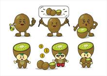 Cartoon Kiwi Fruit Design. Illustration Of Fruit Vector Characters