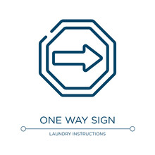 One Way Sign Icon. Linear Vect...