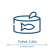 Tuna Can Icon. Linear Vector Illustration From Fisherman Collection. Outline Tuna Can Icon Vector. Thin Line Symbol For Use On Web And Mobile Apps, Logo, Print Media.