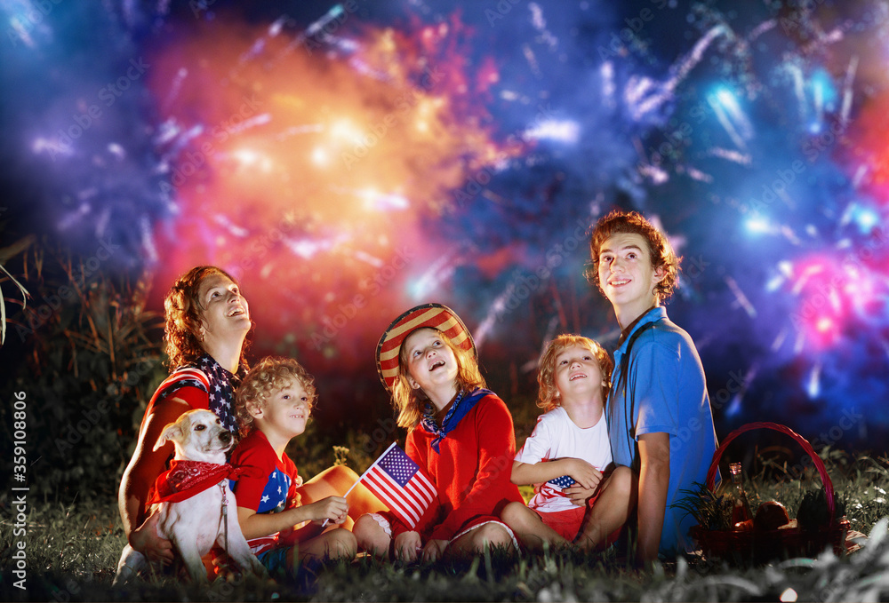 Fototapeta American family on Independence Day. 4th of July.