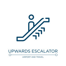 Upwards Escalator Icon. Linear...