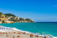 It's Beach Of The Mediterranean Sea, Cote D Azur, Nice, France. Nice Is The Capital Of The Alpes Maritimes Departement