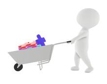 3d Character , Man Moving Cart...