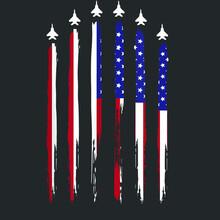 American Flag Usa Airplane Jet...