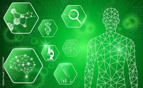 abstract background technology concept in green light,human body heal,technology Wallpaper Mural