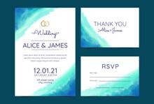 Wedding Cards, Invitation. Save The Date Sea Style Design. Romantic Beach Wedding Summer Background