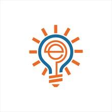 Bulb E Vector Logo Design Grap...