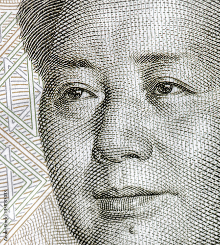 Vászonkép Portrait of Mao Zedong on China Paper Currency.