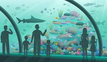 People In The Oceanarium. Parents And Children Look At Ocean Fish And Marine Inhabitants. A Variety Of Underwater Flora And Fauna. Vector Illustration