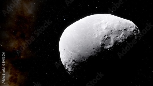 Photo asteroid in deep space, comet in space 3d render